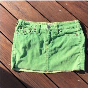 True Religion green cord skirt Size 31